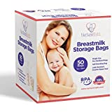 50 Breastmilk Storage Bags - 6oz / 180ml Pre-Sterilized & BPA-FREE Bags, Designed for Even and Faster Thawing with Leak Proof Mechanism by Nurture Right