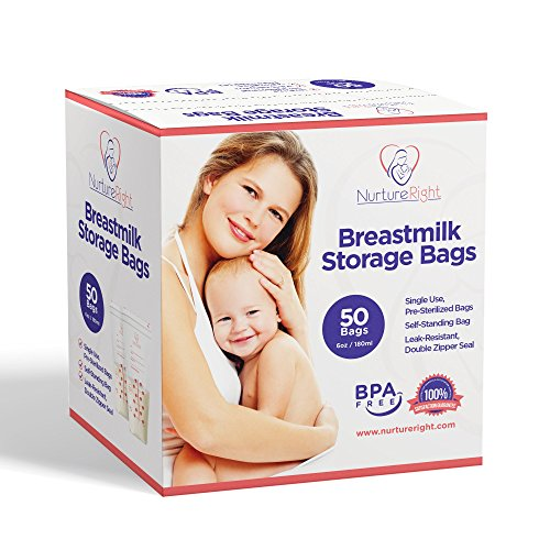 Disposable Milk Storage - 50 Breastmilk Storage Bags - 6oz / 180ml Pre-Sterilized & BPA-FREE Bags, Designed for Even and Faster Thawing with Leak Proof Mechanism by Nurture Right