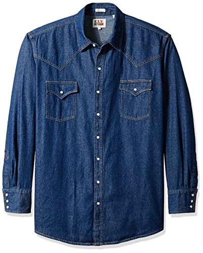 Ely & Walker Men's Size Long Sleeve Western Shirt, Denim, X-Large Tall Walker Denim