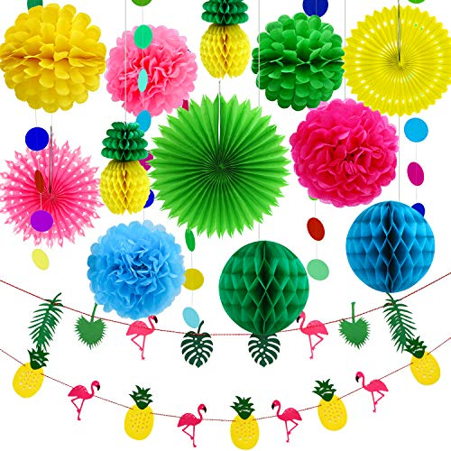Aneco 15 Pieces Summer Party Decoration Kit Tissue Pineapples Paper Pom Poms Flowers Tissue Paper Fan Polka Dot Paper Garland Flamingo Pineapple Banners for Hawaiian Summer Luau Party -