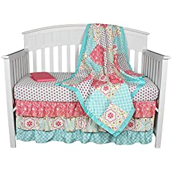 Gia Floral Coral/Aqua 4-In-1 Baby Girl Crib Bedding Collection Flower for girls