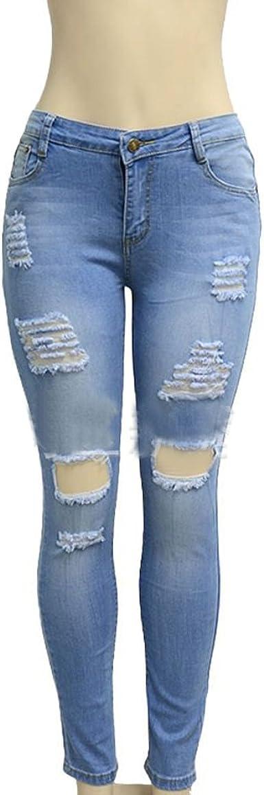 Tienew Talla Grande Hole Rotos Embroidered Flowers Distressed Jean Pantalones Stretch Boyfriend Jeans Para Mujer Amazon Es Ropa Y Accesorios