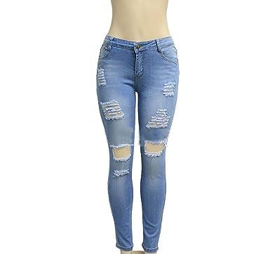 8bea4e405c97 TieNew Damen Jeans Mode schlank Ripped hohe Taille Loch Bleistift Hose,Damen  Jeans High Waist