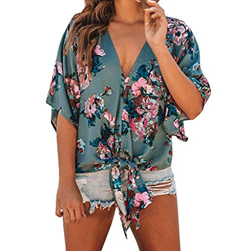 Lotus.Flower Womens Short Sleeve Shirts V Neck Dot Print Knot Collared Button Down Shirt Tops -