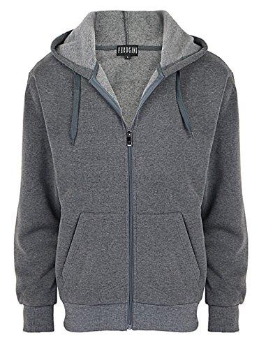 Men's Fashion Hoodies / Long sleeve Training Full-zip Hoodie Jacket Dark grey XX-Large