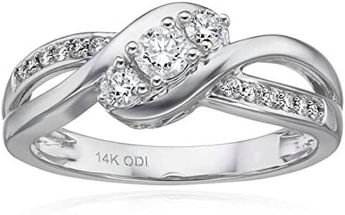 IGI Certified 14k White Gold Diamond Bypass 3 Stone Plus Ring (3/8cttw, H-I Color, I1-I2 Clarity)
