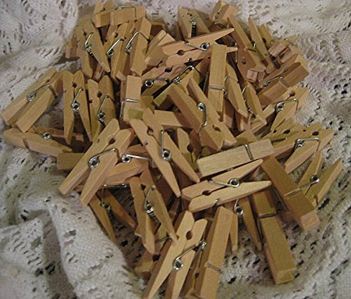 WellieSTR LOT OF 100pcs Mini Natural Wooden Clothe Photo Paper Peg Clothespin Craft Clips 35MM by WellieSTR