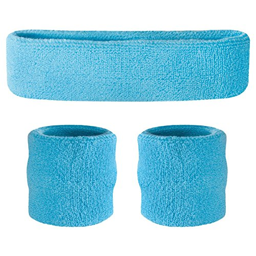 80s Workout (Suddora Neon Blue Headband / Wristband Set - Sports Sweatbands for Head and Wrist)