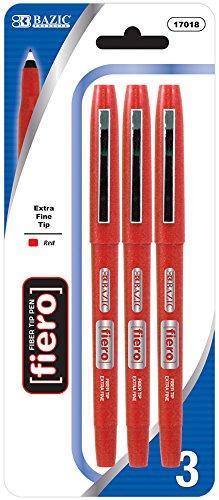 Bazic Fiero Red Fiber Tip Fineliner Pen - 2/Pack 144 pcs sku# 901242MA by Bazic (Image #1)