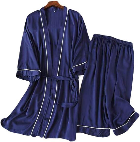 Accappatoio Accappatoi Indumenti da notte-F01 Abito da Due Pezzi in Stile Giapponese da Uomo in Cotone Sottile Kimono Pigiama