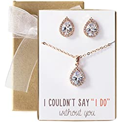 AMY O Wedding Jewelry Set, Tear Drop Necklace and Earring Set in Gold, Rose Gold or Silver