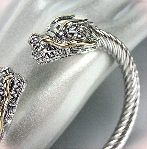 Stunning Designer Inspired Silver Bracelet Gold Dragon Twisting Cable Cuff Bracelets For Women