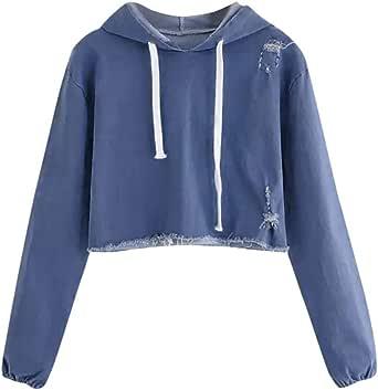 ❀2019 Nuevo Tiendas De Ropa Online Comprar Ropa para Dama Compra De Ropa Las Mujeres Ocasionales De Manga Larga De Mezclilla Jersey Blusa Camisas Sudadera XL: Amazon.es: Ropa y accesorios