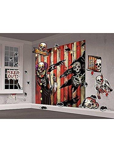 Creepy Carnival Clowns Scene Setters | Mega Value | Halloween Wall Decorating Kit | 4 Ct. ()