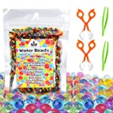 Water Beads with Fine Motor Skills Toy Set, Non-Toxic Water Sensory Toy for Kids - 10,000 Beads with 2 Scoops and Tweezers for Early Skill Development