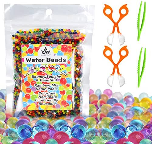 AINOLWAY Water Beads with Fine Motor Skills Toy Set, Non-Toxic Water Sensory Toy for Kids - 10,000 Beads with 2 Scoops and Tweezers for Early Skill Development (Water Beads Set)