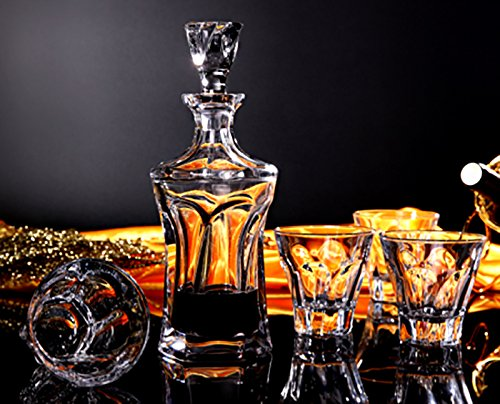 Denizli Set of Clear Crystal Decanter and 6 Heavy-Base Whisky Scotch Brandy Glasses, Classic Elegant Carafe and Whiskey Tumblers, 1+6-Piece Set