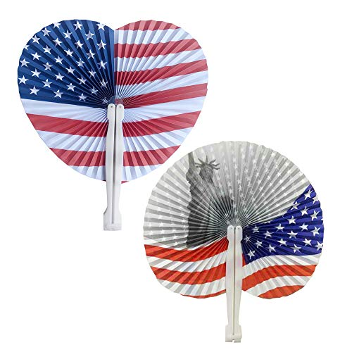 Bestage 20 Pack Stars & Stripes Paper Fans July 4th Patriotic Themed American Flag Round/Heart Paper Fans Party Favors - Hand Patriotic Fan