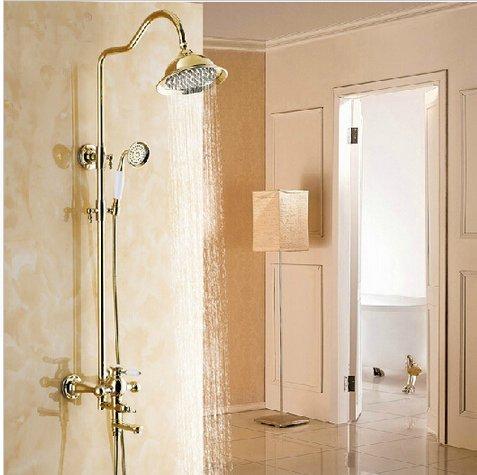GOWE Fancy Luxury 8'' Rain Showerhead Bathroom Shower Faucet Set Single Handle with Handheld Shower Polished Gold by Gowe (Image #4)