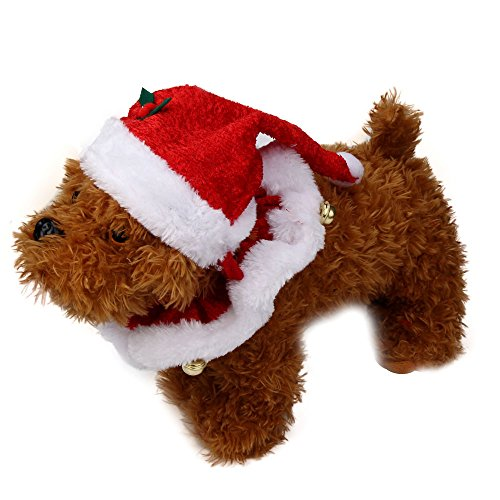 succeedtop Pet Hat 2Pcs Set Pet Dog Cat Xmas Santa Hat and Collar with Bells Christmas for Small Animals Dog Cat Birthday Party Supplies Reusable Cat Dog Headwear Caps Pet Costum (M, Red)]()