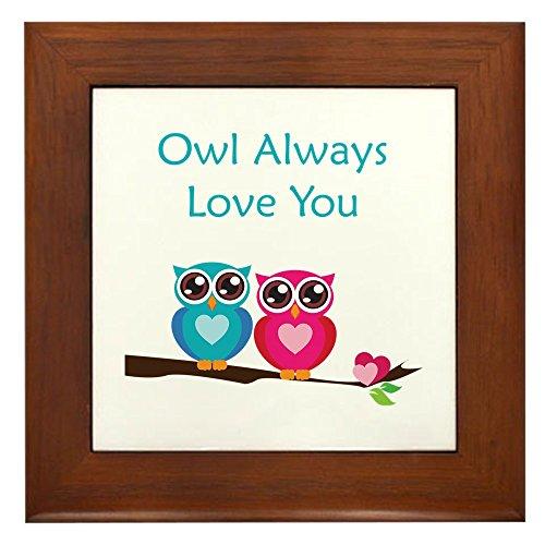 CafePress - Owl Always Love You Framed Tile - Framed Tile, Decorative Tile Wall Hanging ()