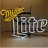 Miller Lite Custom Design Real Glass Handcraft Display Neon Light Sign 19x15