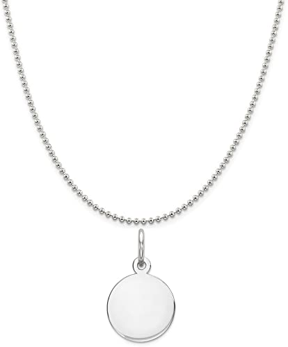 Sterling Silver Engravable Round Polished Disc Charm on a Sterling Silver Cable Snake or Ball Chain Necklace