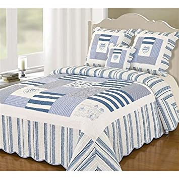 couvre lit boutis 230x250 Alpes Blanc Boutis Couvre lit Bleu Marine 230x250: Amazon.fr  couvre lit boutis 230x250