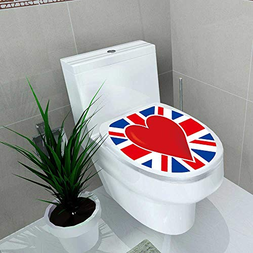Auraise-home Bathroom Removable PVC British Flag with a Big red he in The Center of it Vinyl Removable Bathroom W13 x L16