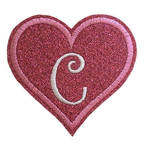 Iron On Patch - Embroidered Glitter Felt Heart With Your Custom Initial