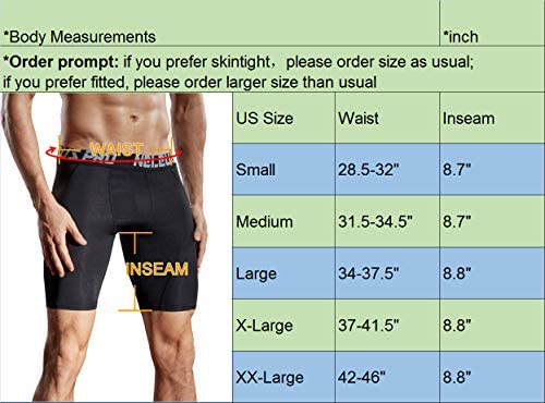 Neleus Men/'s Compression Shorts Pack of 3 Large