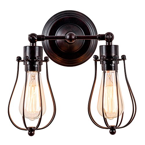 (Industrial Wall Sconce Luling Rustic Loft Antique Wall Lights Wire Cage Adjustable Socket Edison Vintage Metal Retro Lamp Fixtures for Bedroom Gazebo (No Bulb) (with 2 Light) (Rust Color) (Rust))