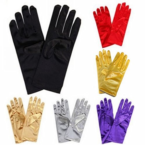 Silver Satin Gloves Wrist Length For Ladies (Silver) (Pair Halloween Costume Ideas)