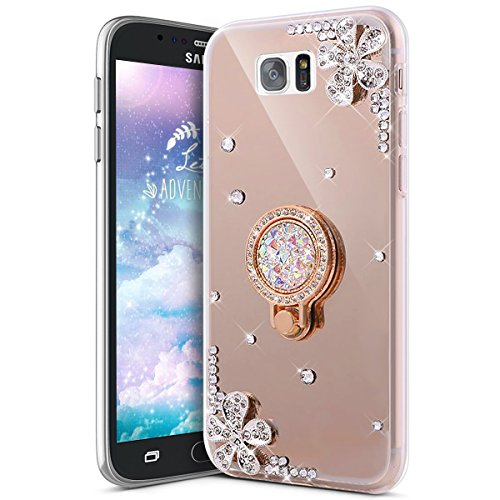 Galaxy S6 Edge Plus Case,IKASEFU Bling Glitter Diamond Flower Luxury Rhinestone Soft TPU Silicone Rubber Mirror Case with Ring Stand Holder Gel Bumper Cover for Samsung Galaxy S6 Edge Plus,Gold