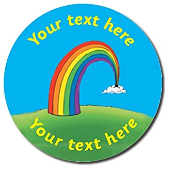 Personalised rainbow school reward stickers 25 millimetres x 70 primary teaching services