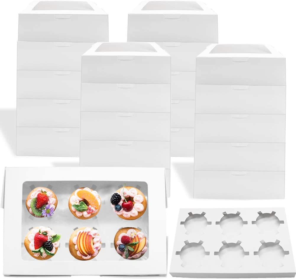 20 Pack Cupcake Boxes with Inserts and Window Hold 6 Standard Cupcakes,9.3×6.2×3inch Large Bakery Boxes,White Food Grade Cake Carrier Container for Muffins,Cookies and Pies