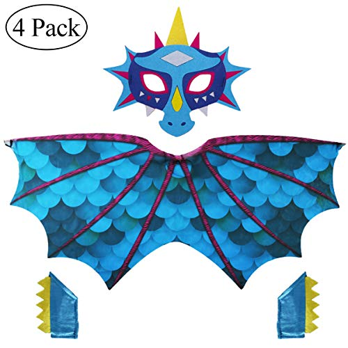 Toddler Kids Dinosaur Wings Costume Mask for Boys Girls with Sequins Bracelet Bands Dress Up Party Supplies (#2 Blue)