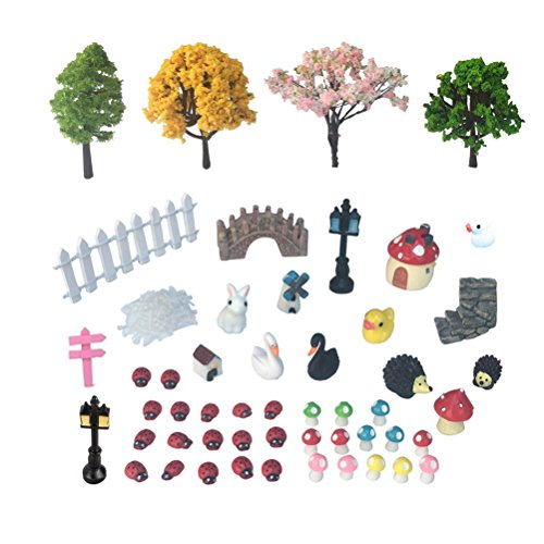 Vtete 50 PCS Fairy Miniature Ornament DIY Kit and 4 PCS Artificial Succulent Plants for Garden Dollhouse Decoration