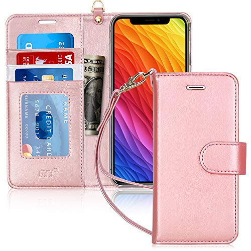 """FYY Luxury PU Leather Wallet Case for iPhone Xr (6.1"""") 2018, [Kickstand Feature] Flip Folio Case Cover with [Card Slots] and [Note Pockets] for Apple iPhone Xr (6.1"""") 2018 Rose Gold"""