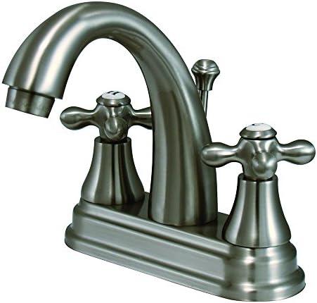 Kingston Brass KS7618AX English Vintage Center Set Lavatory Faucet, 4-3 4-Inch, Brushed Nickel