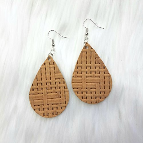 Basketweave Drop Earrings (Honey Basketweave Leather Drop Earrings)