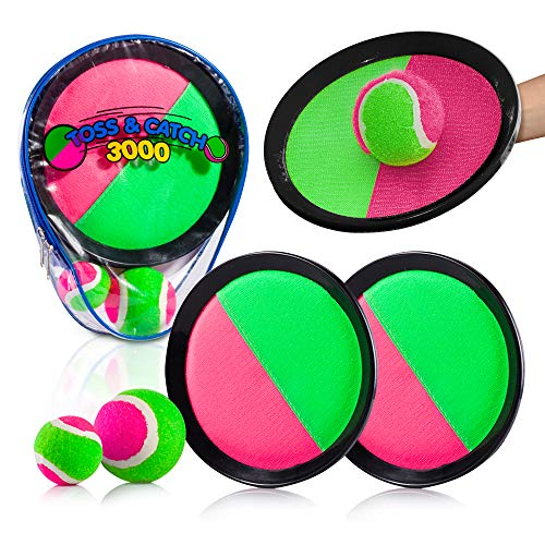 YoYa Toys Toss & Catch 3000 Ball Game with Disc Paddles, 2 Balls (Big and Small) and PVC Carry Bag, Pink and Green (Fun Tennis Games For 5 Year Olds)