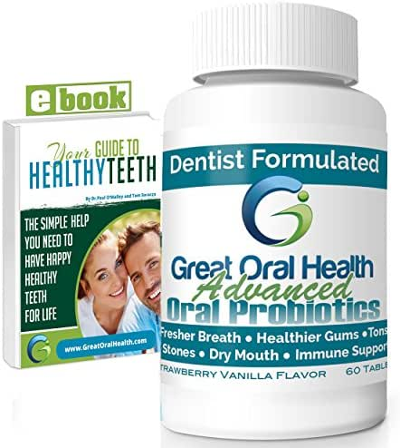 Advanced Chewable Oral Probiotics ~ Dentist Formulated 60 Tablet Bottle ~ Attack Bad Breath and Gum Disease. Contains BLIS K12 & BLIS M18. 60 Tablets - Bad Breath Treatment - eBook Included!
