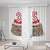 TecBillion Decor Collection,35th Birthday Decorations,for Bedroom Living Dining Room Kids Youth Room,Gourmet Desert Cherry Cake Party Special Day Thirthy Five,196Wx83L Inches