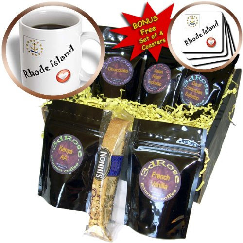 SmudgeArt State Flags for the USA - I Love Rhode Island - Coffee Gift Baskets - Coffee Gift Basket (cgb_7207_1)