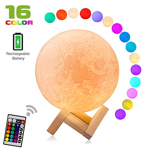 - Moon lamp(5.9 inch), Dikale LED 3D Print Moon Lamp with Stand & Remote&Touch Control and USB Rechargeable, Moon Light Lamps Night Lights for Baby Kids Lover Birthday Party Gifts