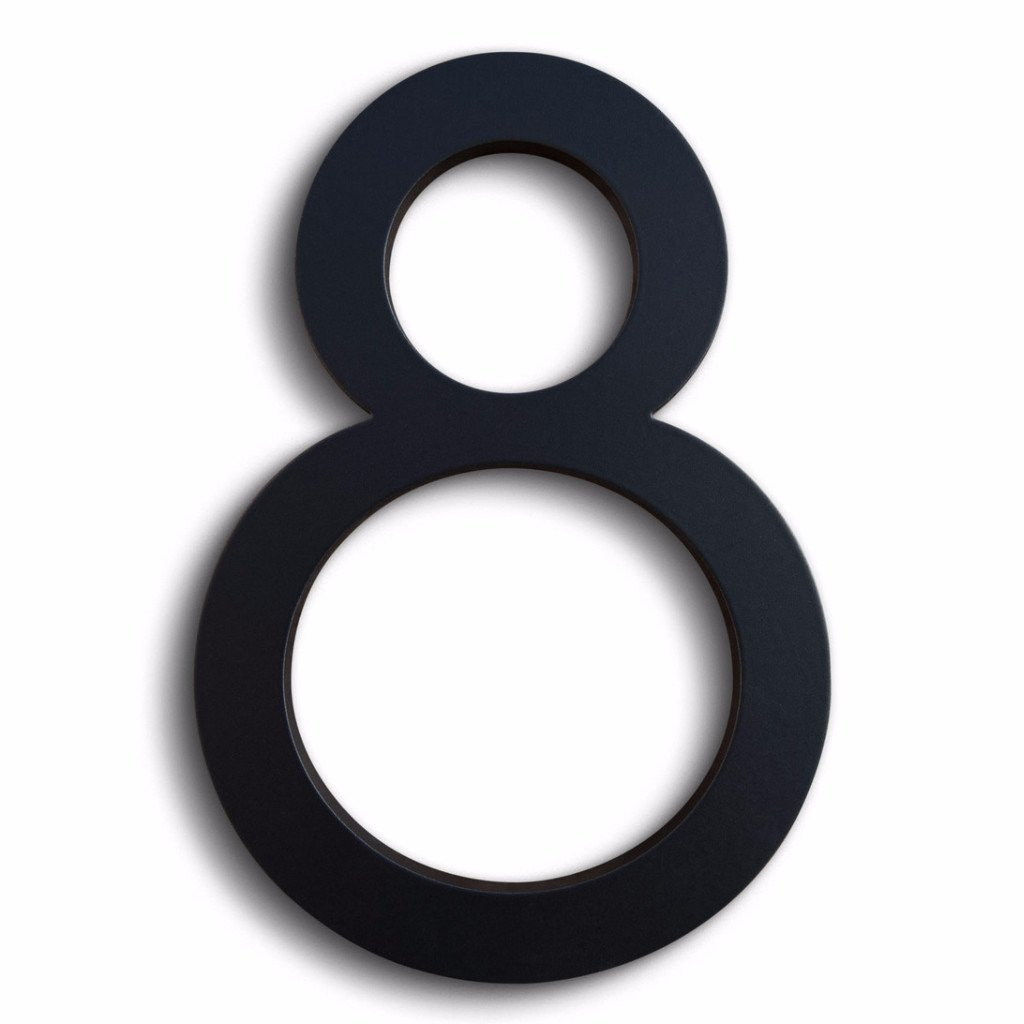 Modern House Number Black Color Aluminum Modern Font Number Eight''8'' 6 inch