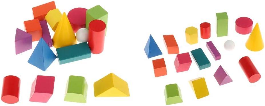 SM SunniMix 32 Piezas de Rompecabezas de Sólidos Geométricos para Niños, Juegos de Matemáticas Montessori, Aprendizaje Preescolar