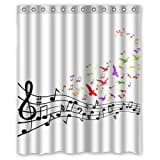 "New Music Theme Colorful Music Notes And Birds Flying From Black Satve Shower Curtain 60""""x72"""" Waterproof Polyester Fabric Shower Curtains ( Shower Rings Included )"
