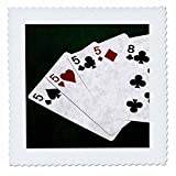 3dRose Alexis Photo-Art - Poker Hands - Poker Hands Four Of A Kind Five Eight - 20x20 inch quilt square (qs_270305_8)
